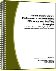 The Tech Transfer Library: Performance Improvement, Efficiency, and Staffing Strategies. Volume II